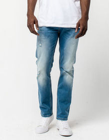 RSQ London Rip & Repair Indigo Denim Mens Skinny J