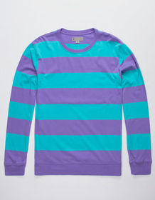CHARLES AND A HALF Stripe Purple Mens Rugby Shirt_