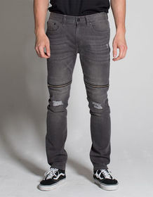 RSQ Seattle Moto Zip Mens Skinny Tapered Ripped Je
