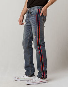 RSQ London Side Stripe Mens Ripped Skinny Stretch