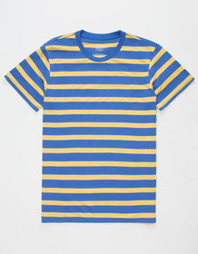 BLUE CROWN Simple Stripe Blue & Yellow Mens T-Shir