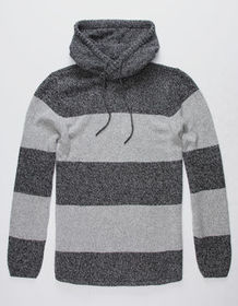 BIRCH BLACK Striped Charcoal Mens Hooded Sweater_