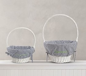 Pottery Barn Navy Gingham Easter Basket Liners