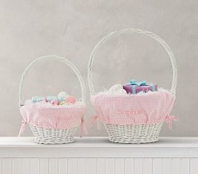Pottery Barn Pink Gingham Easter Basket Liners