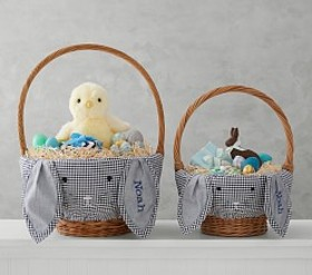 Pottery Barn Navy Gingham Bunny Face Easter Basket