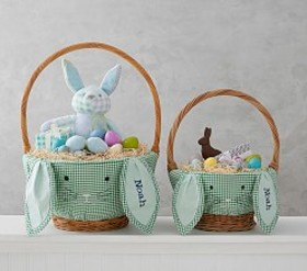Pottery Barn Green Gingham Bunny Face Easter Baske