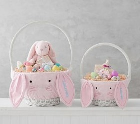Pottery Barn Pink Gingham Bunny Face Basket Liners