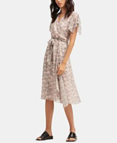 DKNY Floral Printed Wrap Dress