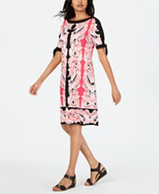 JM Collection Printed Tie-Sleeve Sheath Dress, Cre