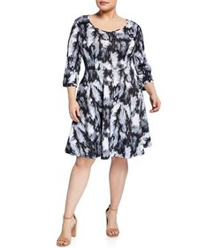 Melissa Masse Plus Size Printed Fit-and-Flare Dres