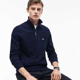 Lacoste Men's Flat Ribbed Zippered Stand-Up Collar