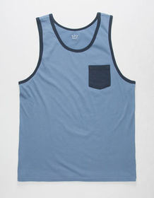 BLUE CROWN Blue Mens Pocket Tank Top_