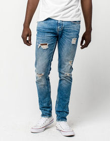 RSQ Seattle Extreme Wash Ripped Mens Skinny Tapere