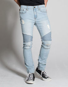 RSQ Seattle Moto Mens Skinny Tapered Ripped Jeans_
