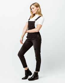 RSQ Ripped Black Womens Denim Overalls_