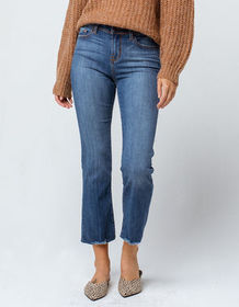SKY AND SPARROW Fray Ankle Crop Womens Flare Jeans
