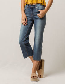 SKY AND SPARROW Fray Wide Leg Womens Crop Jeans_