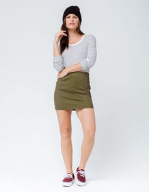 SKY AND SPARROW Seamed Olive Mini Skirt_