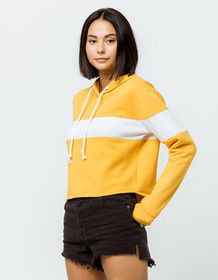 FULL TILT Chest Stripe Gold Womens Crop Hoodie_