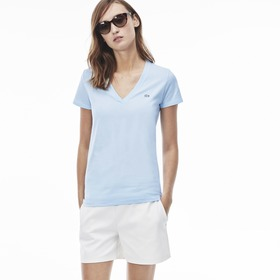 Lacoste Women's V-neck t-shirt in soft jersey