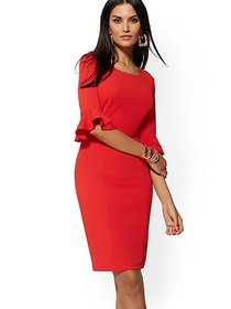 Tulip-Sleeve Sheath Dress - Magic Crepe - New York