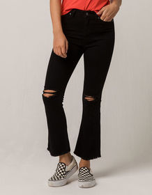 IVY & MAIN Kick Crop Womens Ripped Flare Jeans_