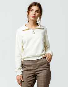 FULL TILT Half Zip Off White Womens Crop Sweatshir