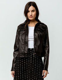 IVY & MAIN Faux Leather Classic Black Womens Jacke