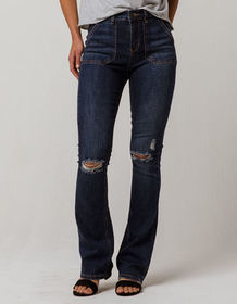 SKY AND SPARROW Ripped Womens Flare Jeans_
