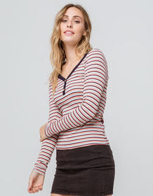 JOLIE Ribbed Stripe Coral Womens Henley_