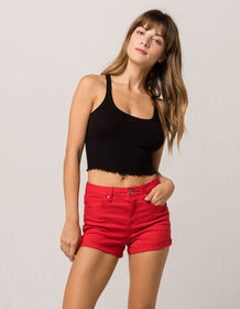 RSQ Sunset High Rise Red Womens Denim Shorts_