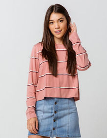 FULL TILT Essentials Stripe Mauve Womens Tee_