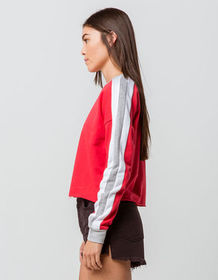 DESTINED 3 Stripes Red Womens Crop Sweatshirt_