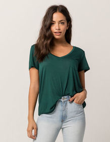 FULL TILT Essentials V-Neck Forest Womens Pocket T