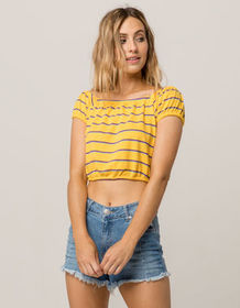GOOD LUCK GEM Stripe Off The Shoulder Womens Crop