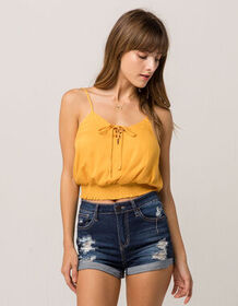 SKY AND SPARROW Lace Up Mustard Womens Cami_