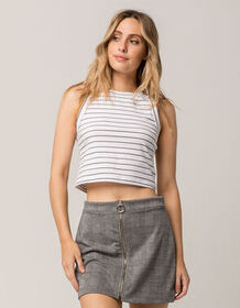 GOOD LUCK GEM Stripe Crop White & Black Womens Tan