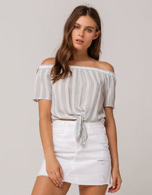 IVY & MAIN Stripe Tie Front Womens Off The Shoulde
