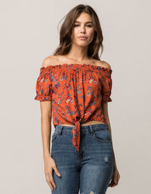 MIMI CHICA Tie Front Womens Off The Shoulder Top_