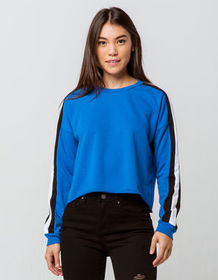 DESTINED 3 Stripes Royal Womens Crop Sweatshirt_