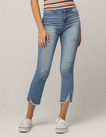 SKY AND SPARROW Fray Ankle Womens Ripped Jeans_