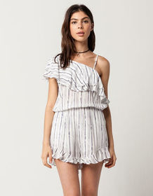 BLU PEPPER One Shoulder Flounce Womens Romper_