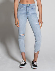 RSQ Cali High Rise Fray Ankle Womens Ripped Skinny
