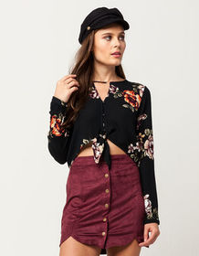 BLU PEPPER Floral Button Front Womens Top_