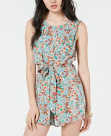 Be Bop Juniors' Printed Tie-Waist Romper
