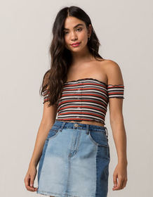 SKY AND SPARROW Ribbed Off The Shoulder Womens Cro