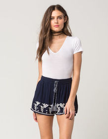 PATRONS OF PEACE Embroidered Border Womens Shorts_