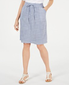 Karen Scott Petite Cotton Drawstring Skirt, Create