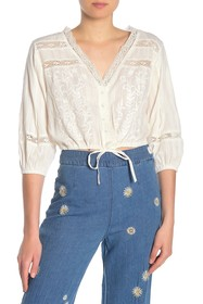Free People Follow Your Heart Embroidered Crop Top