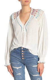 Free People Siesta Fiesta Embroidered Top